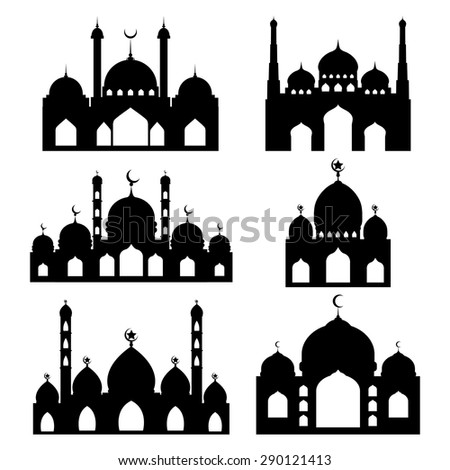 Vector Mosque shapes / Arabic Mosque vector silhouette  - stock vector