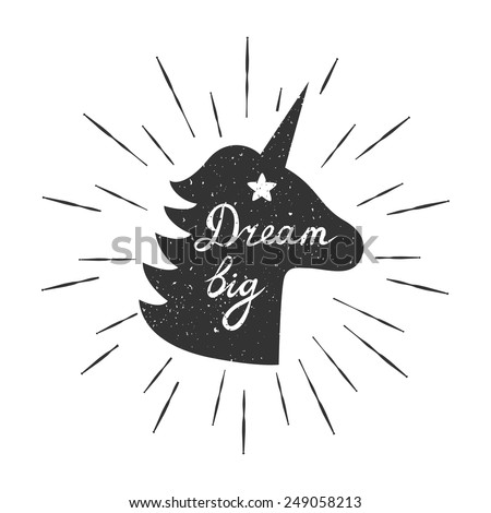 "Vector motivation card with unicorn silhouette, sunbursts, and text ""Dream big"". Stylish vintage background with inspirational words. - stock vector"