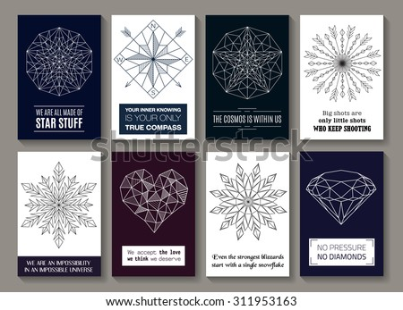 Vector motivational posters with images of star, compass, arrows circle, snowflakes, heart and diamond. Isolated on white or dark background. For cards, banners, posters, greetings, line design. - stock vector