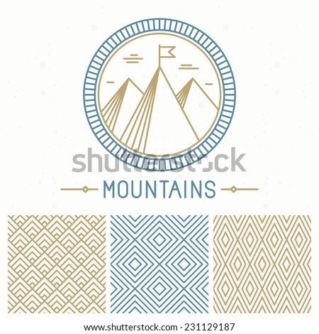 Vector mountain design kit - abstract round emblem and seamless patterns in line style - stock vector