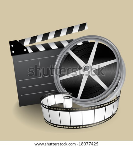 vector movie equipment - film strip, clapper and film roller - stock vector