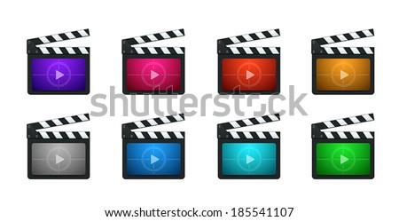 Vector Movie Production Clapboard in 8 Vivid Color Variations - stock vector