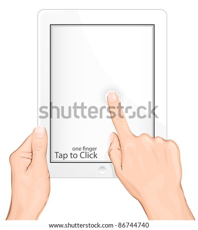 Vector multi-touch gesture for tablets & smartphone. Tap to Click - stock vector