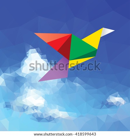 vector multicolor bird flying in cloudy sky, peace symbol - stock vector