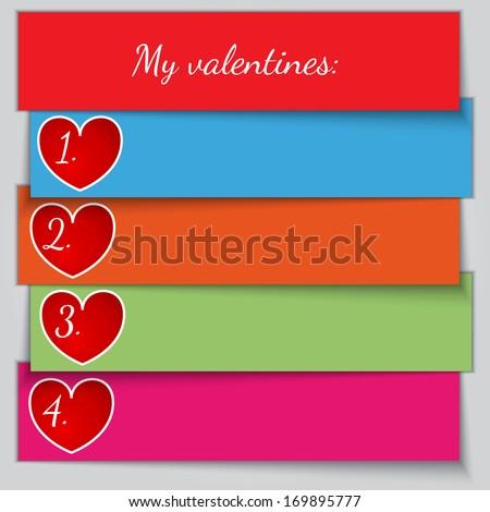 Vector multicolor paper enumerated valentine list - stock vector