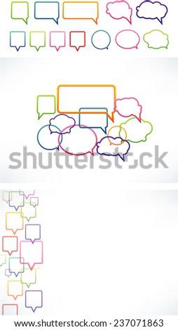 Vector Multicolor Speech bubbles  - stock vector