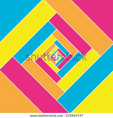 Vector multicolor square design. abstract colorful swirly illustration. Optical effect. - stock vector