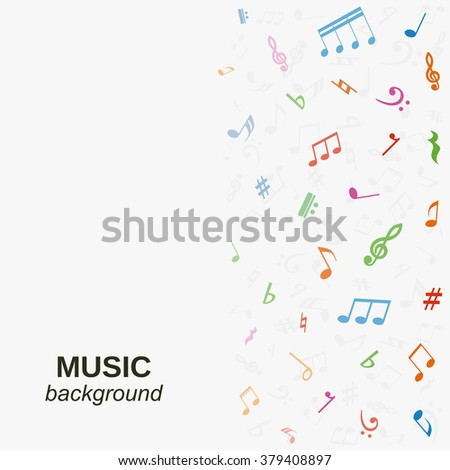 Vector music background with colorful notes. - stock vector
