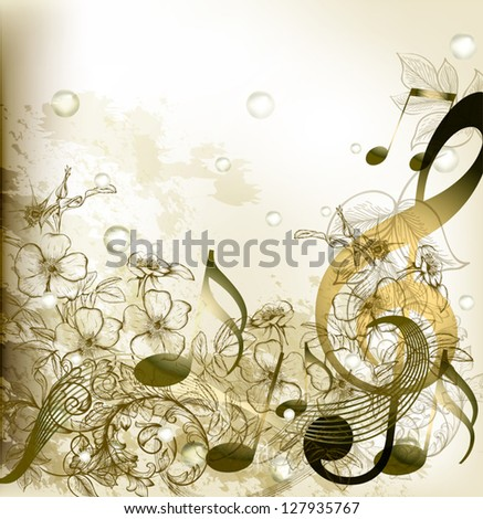 Vector music conceptual background - stock vector