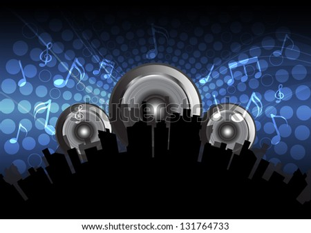 vector music festival in the city background - stock vector