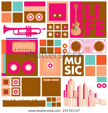 vector music for life background and pattern - stock vector