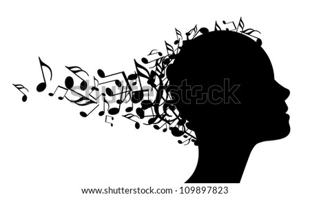 Vector music head - stock vector