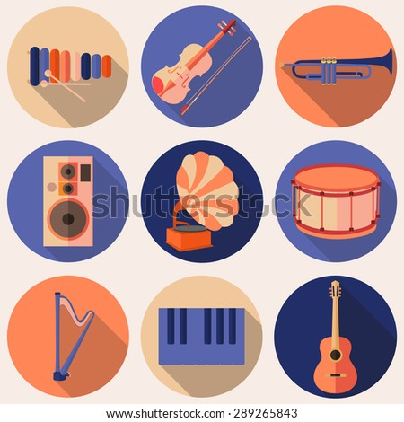 Vector music icons in flat style, set  - stock vector
