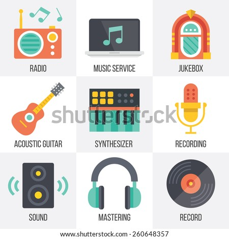Vector music icons set. Flat design. Isolated on white background. Set 11. - stock vector