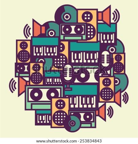 Vector music illustration - stock vector