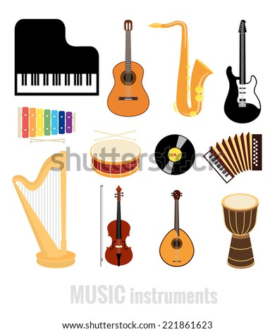 vector music instruments flat icons isolated on white background - stock vector