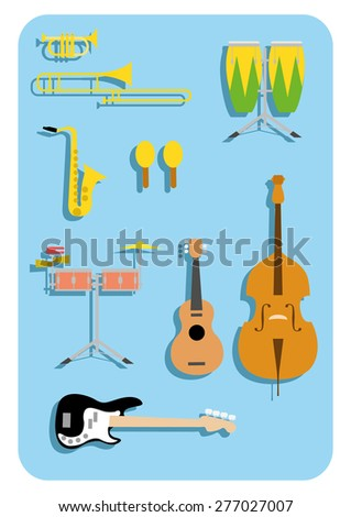 vector music instruments salsa latin  - stock vector