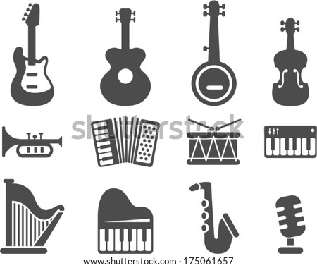 vector music instruments - Separate layers for easy editing - stock vector