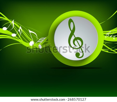 vector music note background design. - stock vector