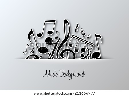 Vector Music notes background for poster or card design.  - stock vector