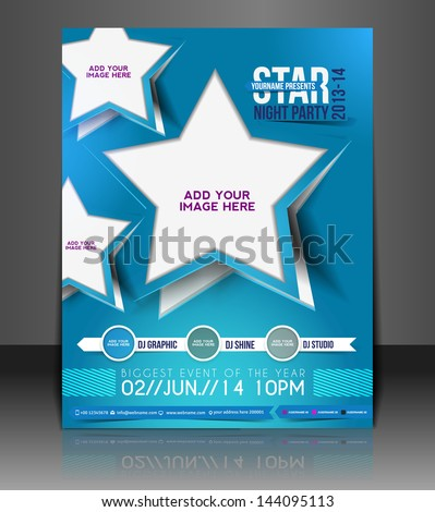 Vector Music Party Brochure, Flyer, Magazine Cover & Poster Template - stock vector