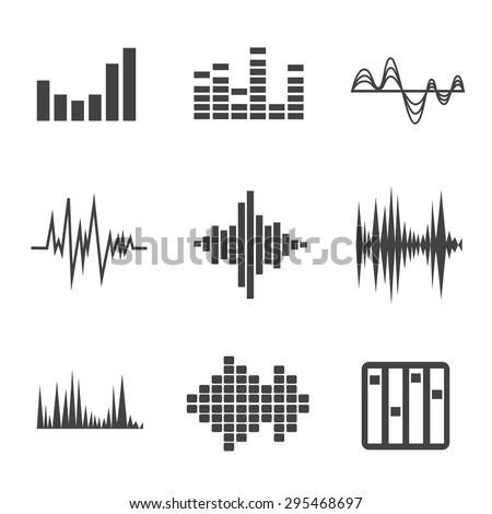 Vector music sound wave icon set on white background - stock vector