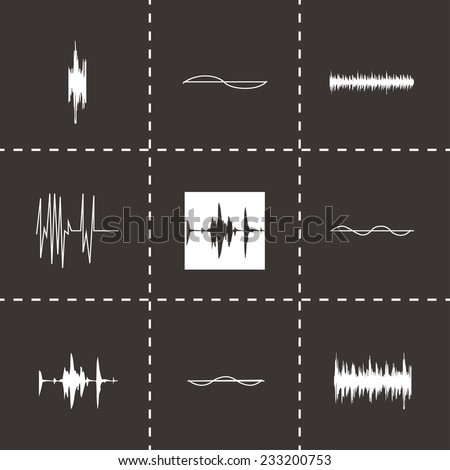 Vector music soundwave icons set on black background - stock vector