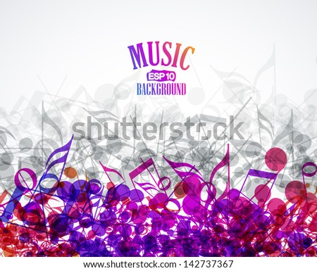 Vector musical background with colored notes - stock vector