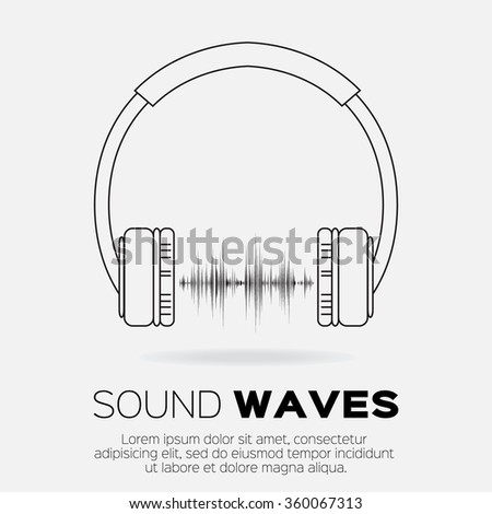 Vector musical dj  style - headphones with sound waves. Music and audio concept design element. - stock vector