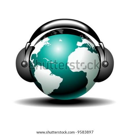 vector musical globe with speaker on white background - stock vector