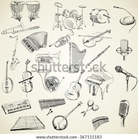 Vector musical instruments - stock vector
