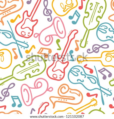 Vector musical instruments seamless pattern background with hand drawn elements. - stock vector