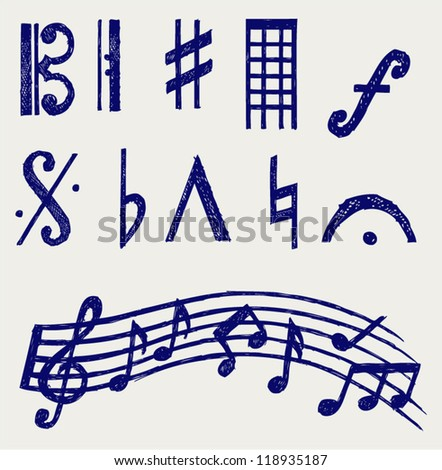 Vector musical notes. Doodle style - stock vector