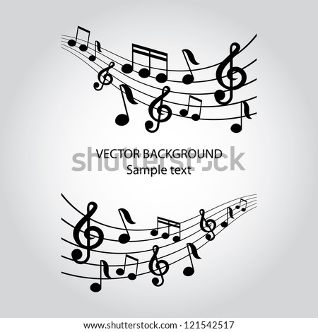 vector musical notes vector background - stock vector