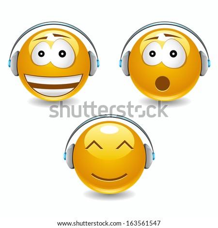 Vector musical smiles with headphones - stock vector