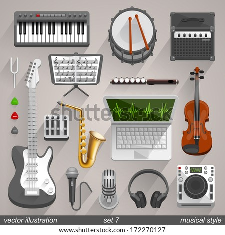 Vector musical style. set 7 - stock vector