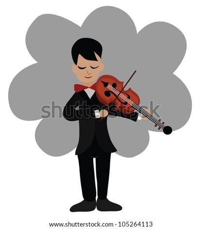 Vector - Musician playing violin. - stock vector