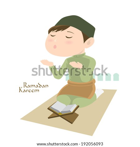 Vector Muslim Praying. Translation: Ramadan Kareem - May Generosity Bless You During The Holy Month. - stock vector