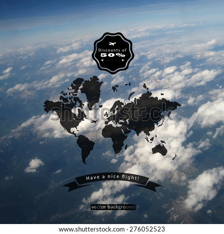 Vector natural blurred sky and world map. Map on blurry background. Identity. Backdrop. Blurred.  - stock vector