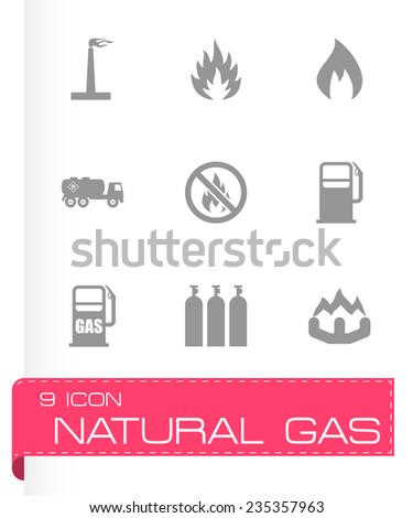 Vector natural gas icon set on grey background - stock vector