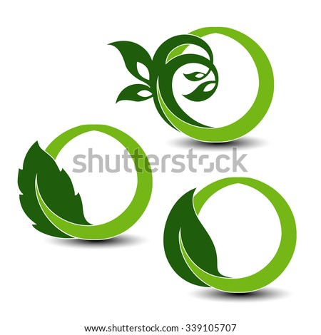 Vector natural symbols, nature circular elements with leaf and plant - stock vector