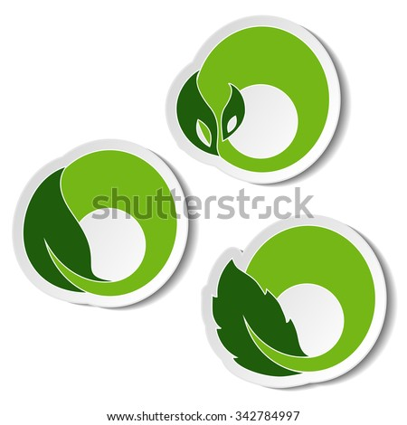 Vector natural symbols, nature circular elements with leaf, plant. Sticker on the white background  - stock vector