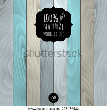 Vector natural wood texture grunge background. Retro tree turquoise blue fence. Realistic wallpaper eco pattern. Wooden  realistic colorful planks backdrop. - stock vector