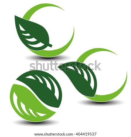 Vector nature circular symbols with leaf, natural simple elements, green eco labels with shadow - set 4  - stock vector