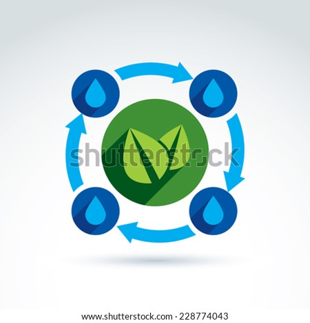 Vector nature circulation system conceptual icon. Ecology symbol on planetary resources idea. Water drops and green leaves connection sign. Eco icon for nature and environment conservation theme. - stock vector
