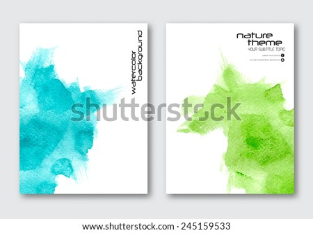 Vector nature poster templates. Hand drawn Watercolor stain background. Abstract background for card, brochure, banner, web design. - stock vector