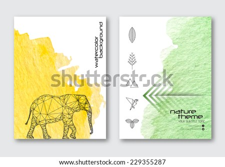 Vector nature poster templates. Hand drawn Watercolor stain background. Ink Abstract background for card, brochure, banner, web design.  - stock vector