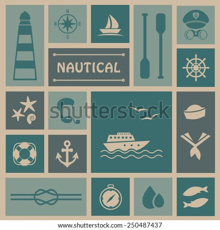 vector nautical background, set icons, captain and sailor, sea boat - stock vector