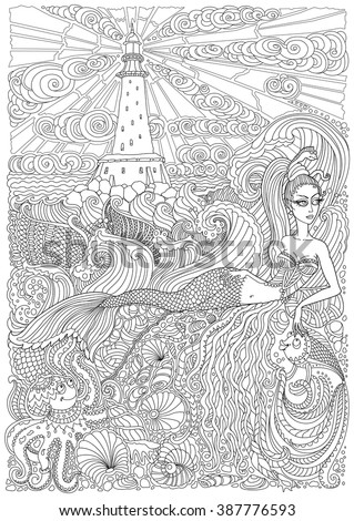 Vector nautical contour thin line illustration. Mermaid, island, lighthouse, pearl, fish, sea shell, octopus. Black and white. Hand drawn abstract sketch artwork. Adults coloring book vertical page - stock vector