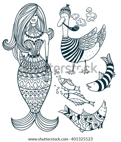 vector nautical set of hand drawn linear details  - stock vector